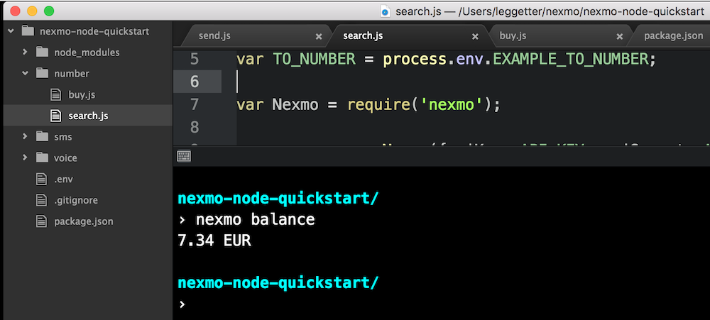 Nexmo Command Line Interface (CLI) in Atom Editor