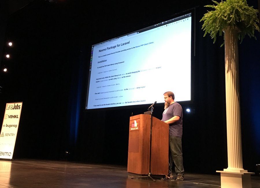 Tim Lytle of Nexmo demoing at Laracon US