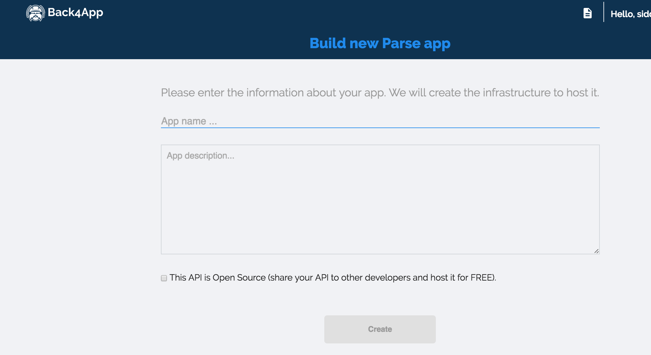 Creating a new app in Back{4}App