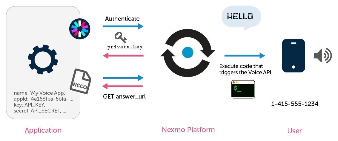 Nexmo voice API make call diagram