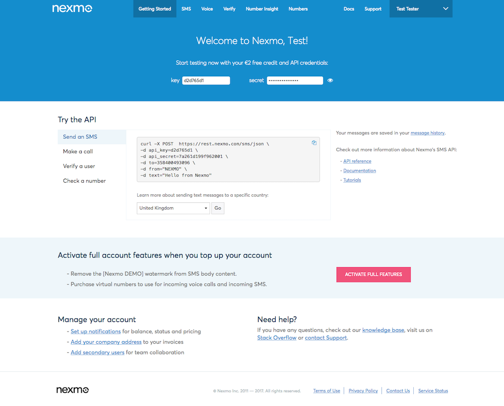 Getting Started Guide - Nexmo Dashboard