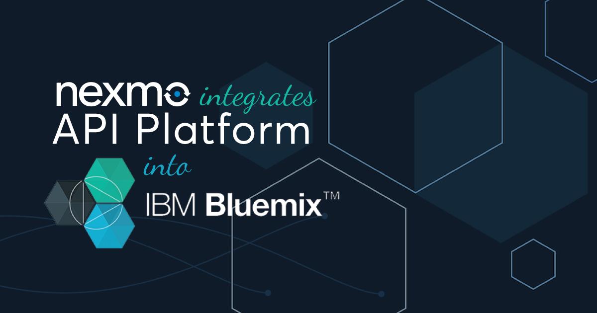 IBM Bluemix cloud catalog now has the Nexmo API platform available for immediate developer integration.