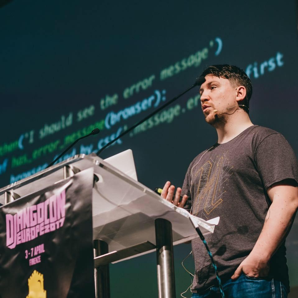 Aaron Bassett talking at DjangoCon Europe 2017
