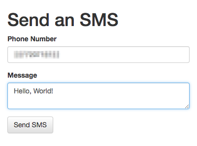 SMS Form Screenshot