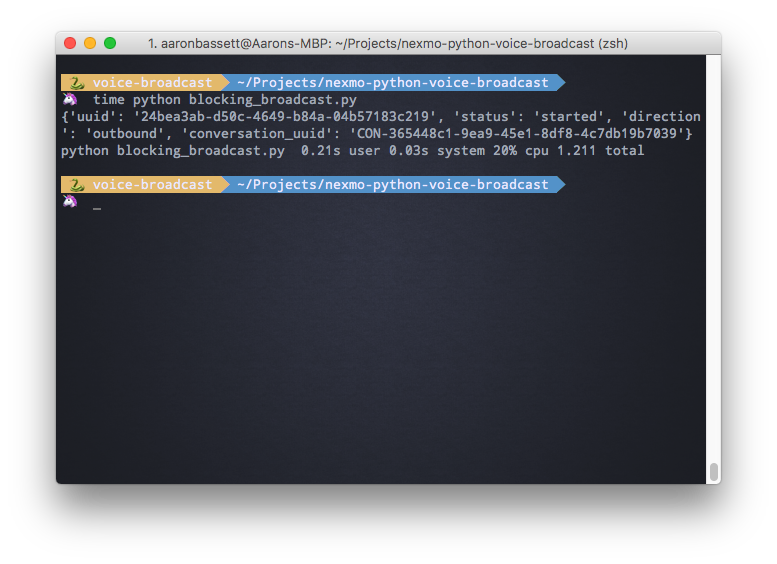 Screenshot of the Nexmo Python client running in Terminal