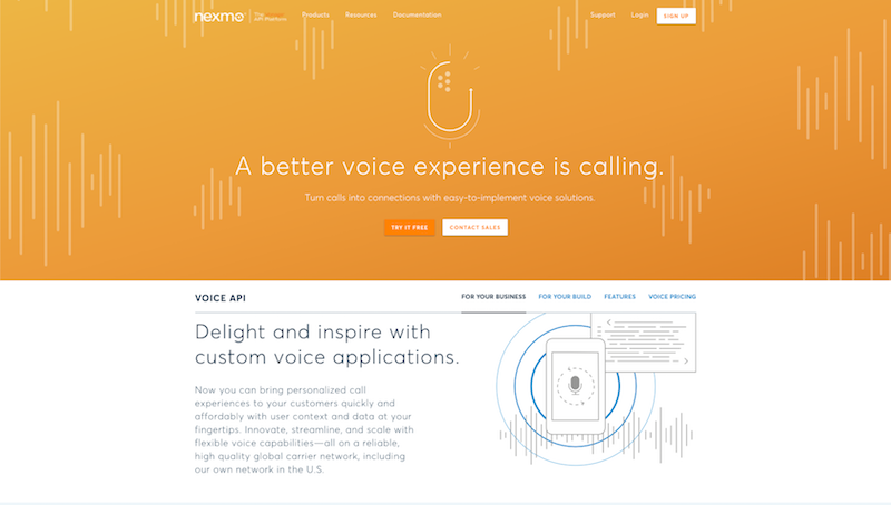Nexmo Voice Product Page (Business module)