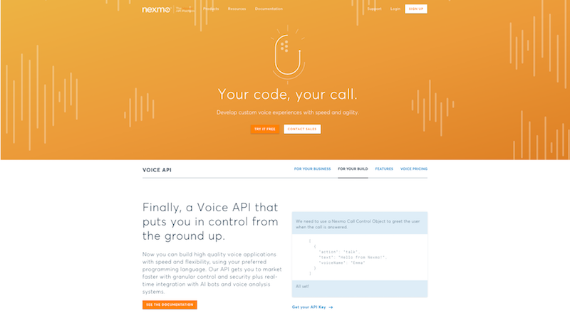 Nexmo Voice Product Page (Developer module)