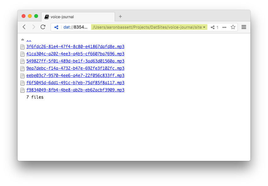 Directory listing rendered by Beaker Browser