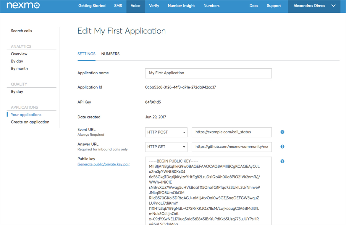 "Voice applications can be edited and configured on the ""Edit Application Settings"" page tab in the Nexmo Dashboard"