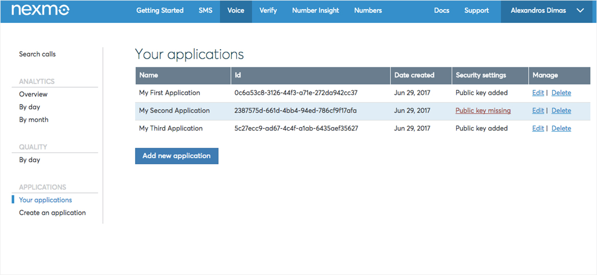 Voice Applications will list in the Your Applications page in the Nexmo Dashboard