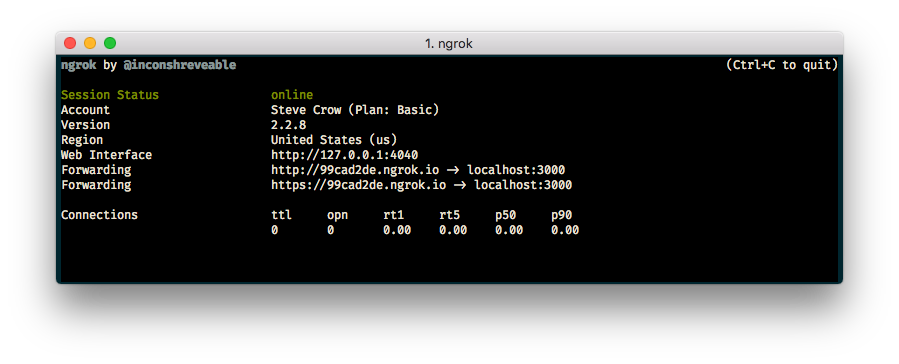 Screenshot of ngrok running in a terminal with forwarding address http://99cad2de.ngrok.io