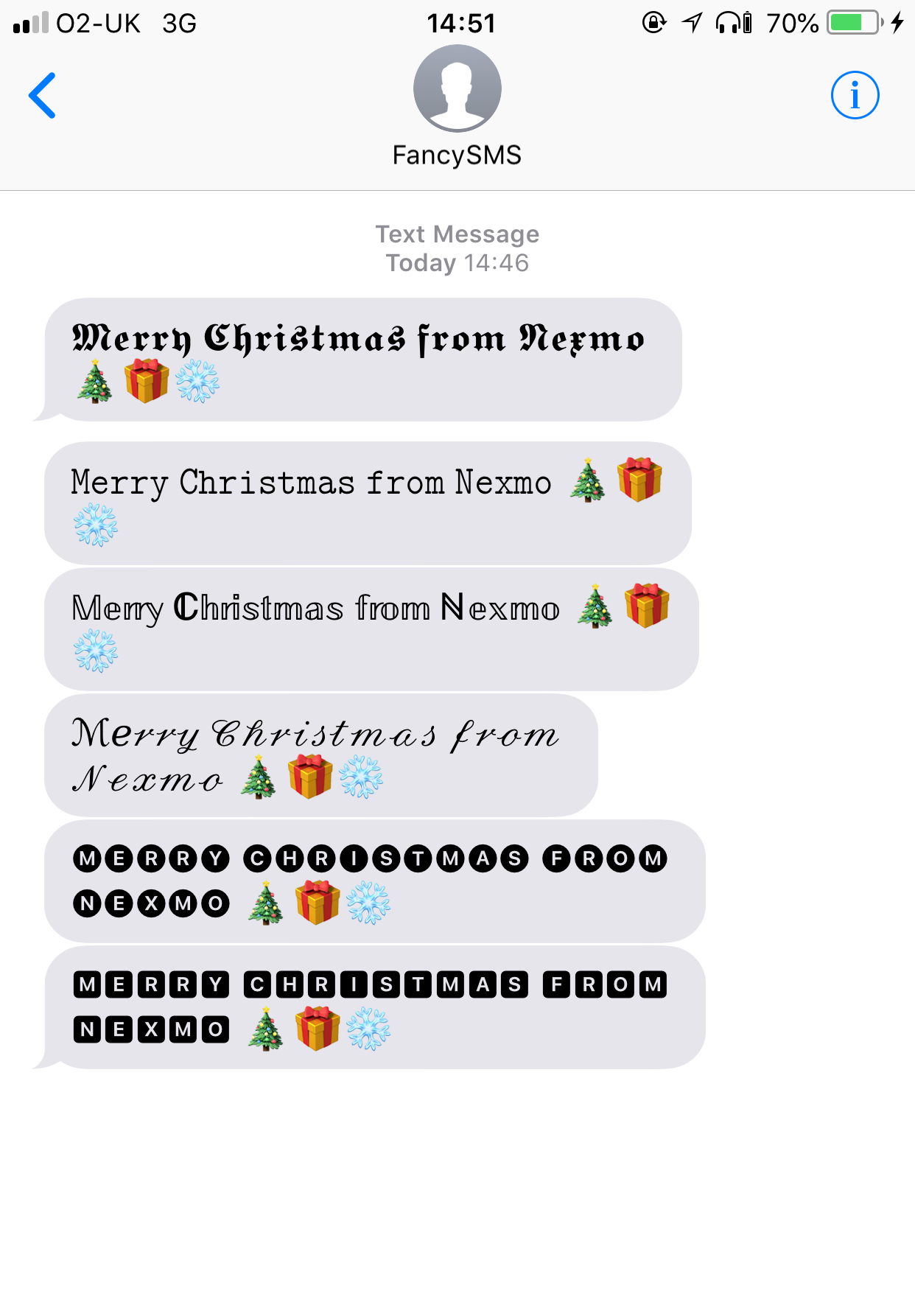 Screeenshot of SMS messages with custom fonts