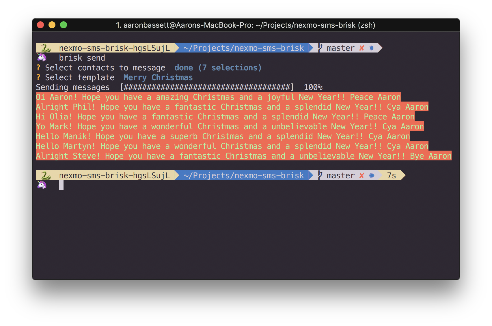 Multiple messages output from bulk SMS CLI in Python