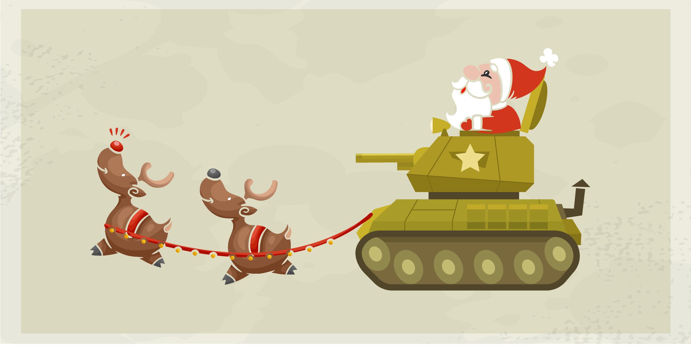 Santa driving a tank