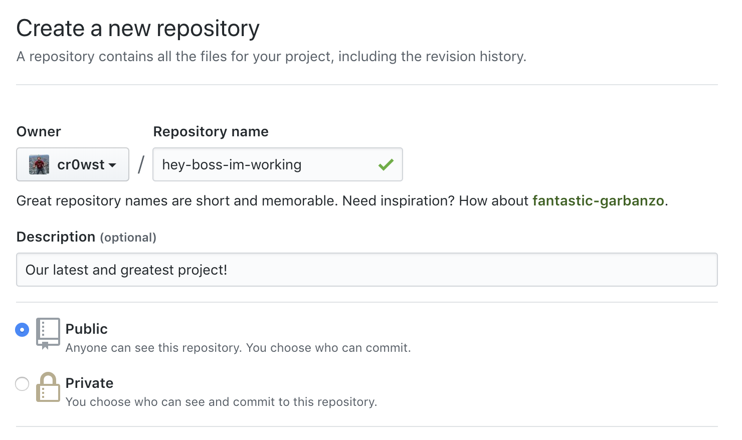 Creating a new repository on GitHub.