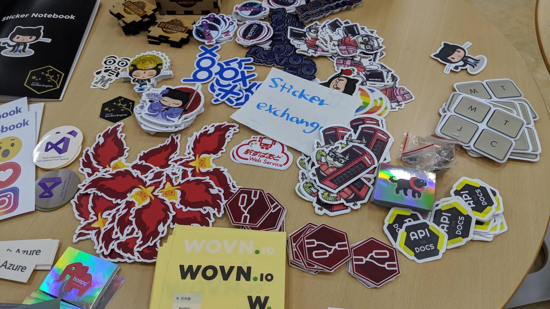 Sticker exchange at DevRelCon Tokyo