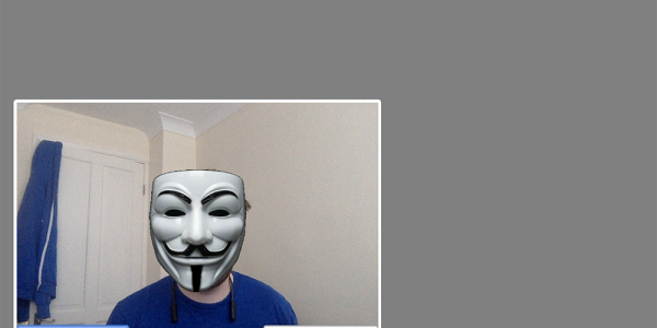OpenTok.js stream with a Guy Fawkes mask!