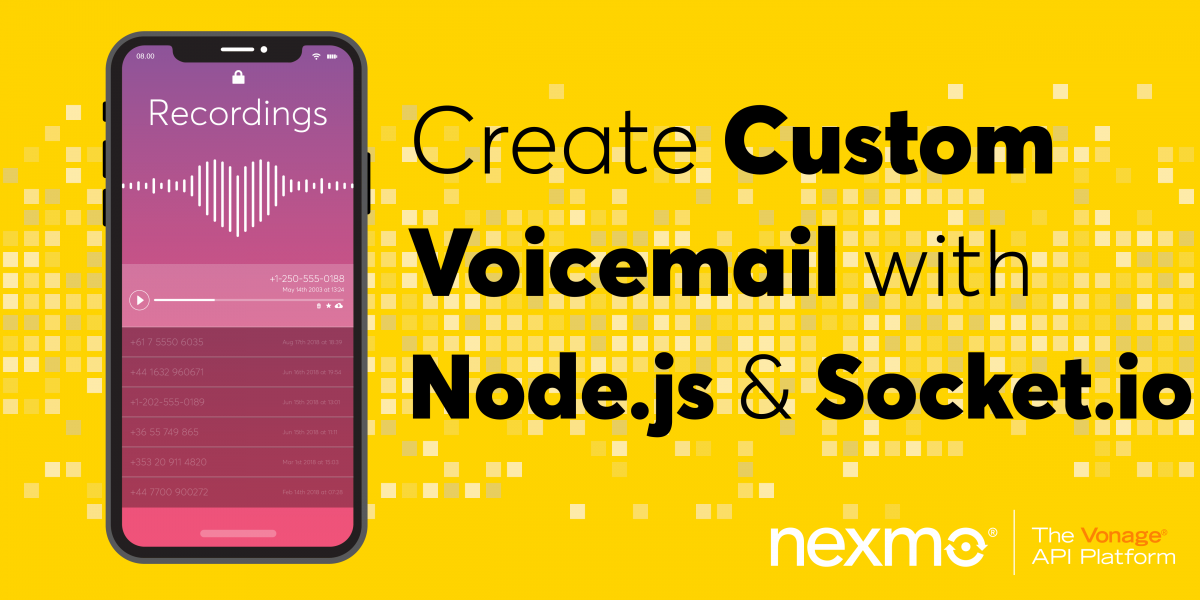 Create Custom Voicemail with Node js, Express and Socket io