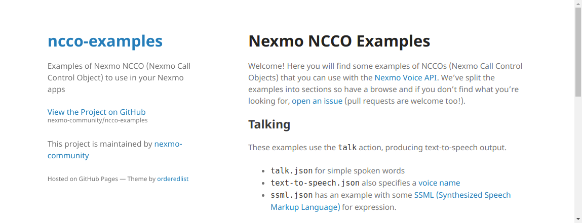 NCCO Examples