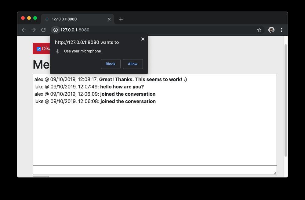 Screenshot of microphone permission request