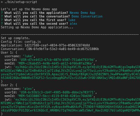 Screenshot of the setup-script being ran