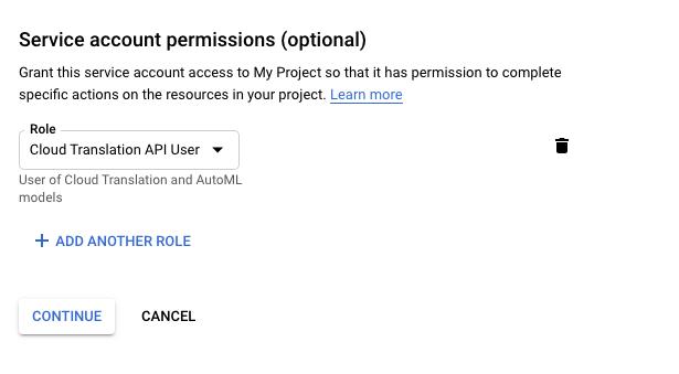 Add Cloud Translation API User Role