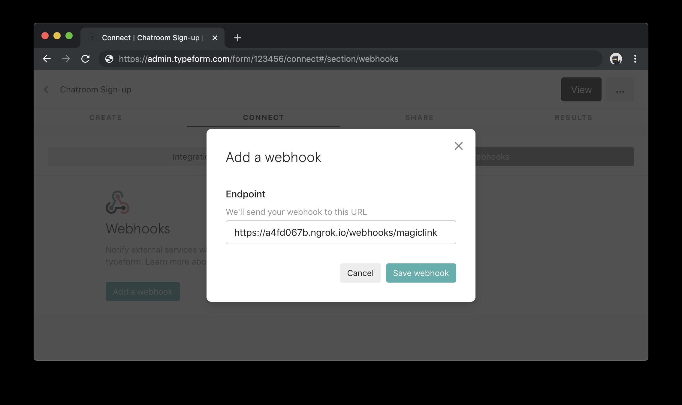 Configure Typeform webhook