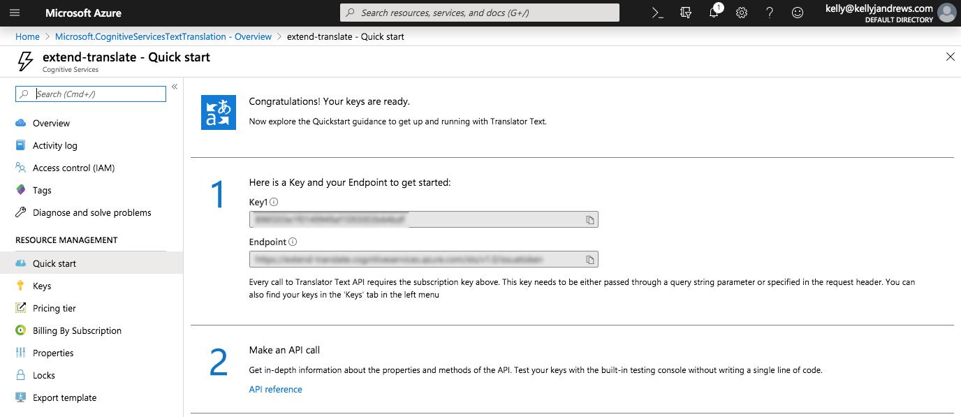 Translator Text Resource Quickstart