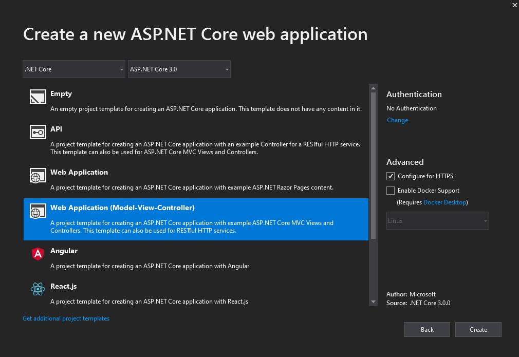 Web Application Type Selection
