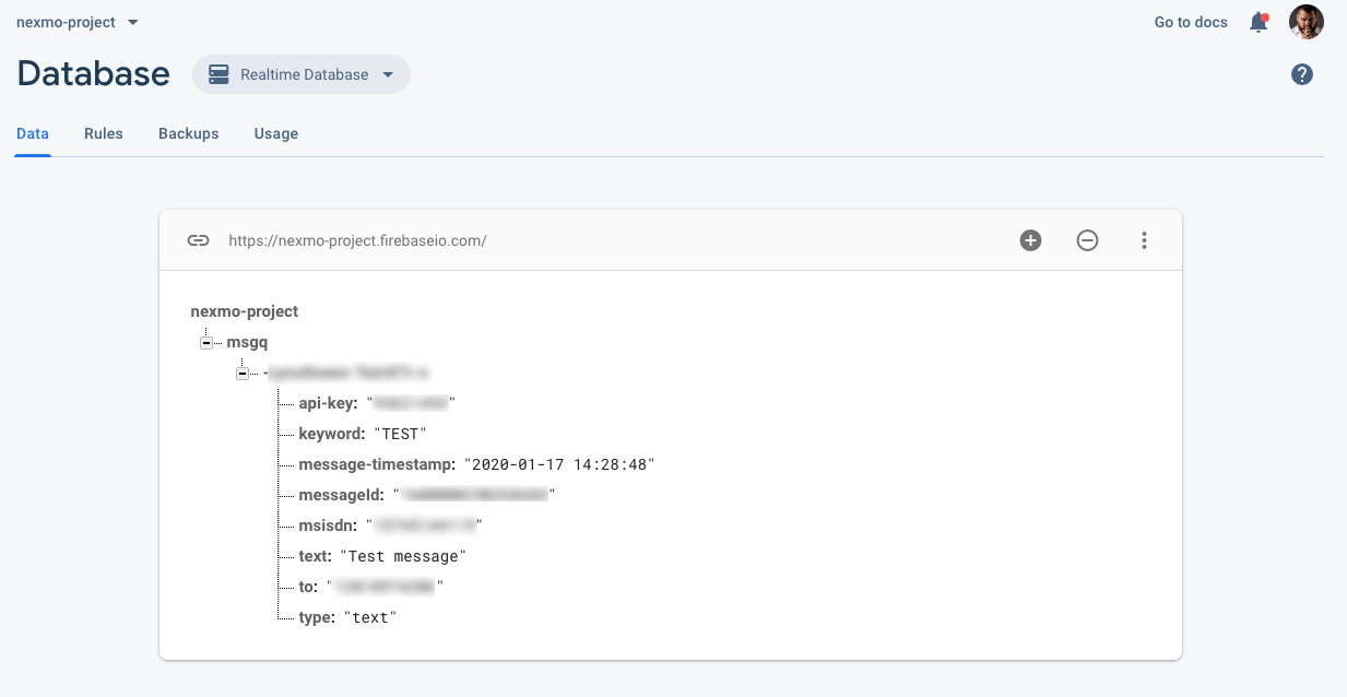 Real-time Database Nexmo Message Entry
