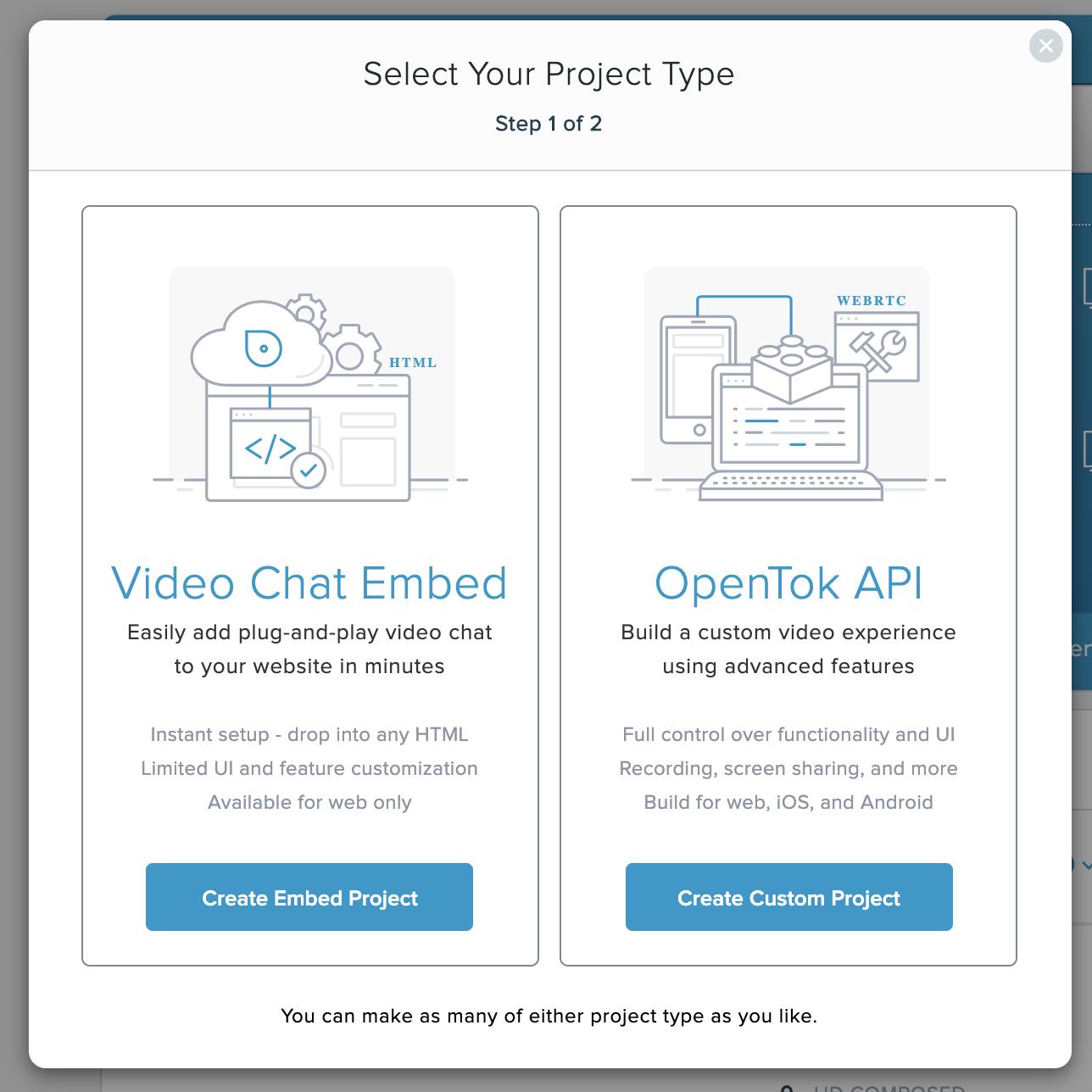 OpenTok Project types