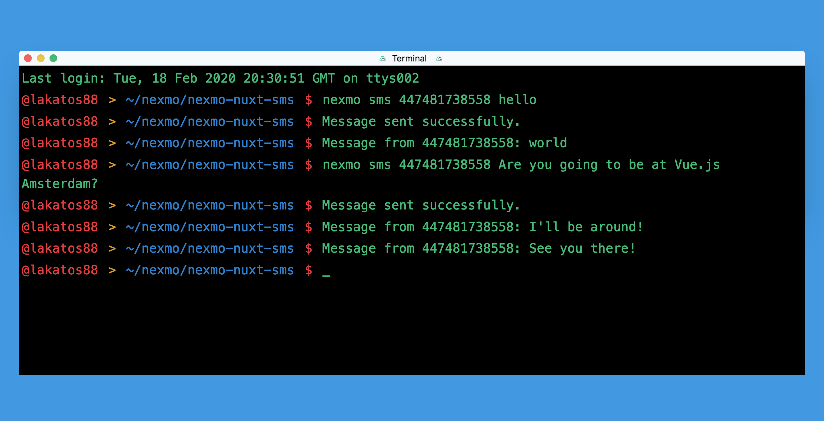 Send and Received SMS message with Nuxt.js and Nexmo