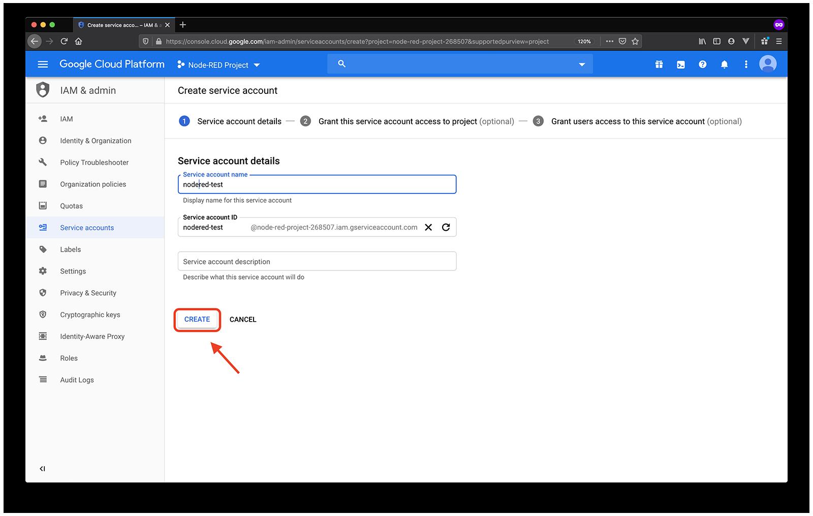google name service account