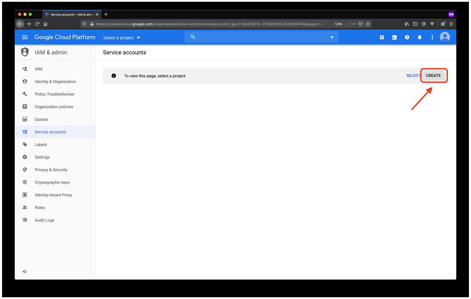google service accounts create project