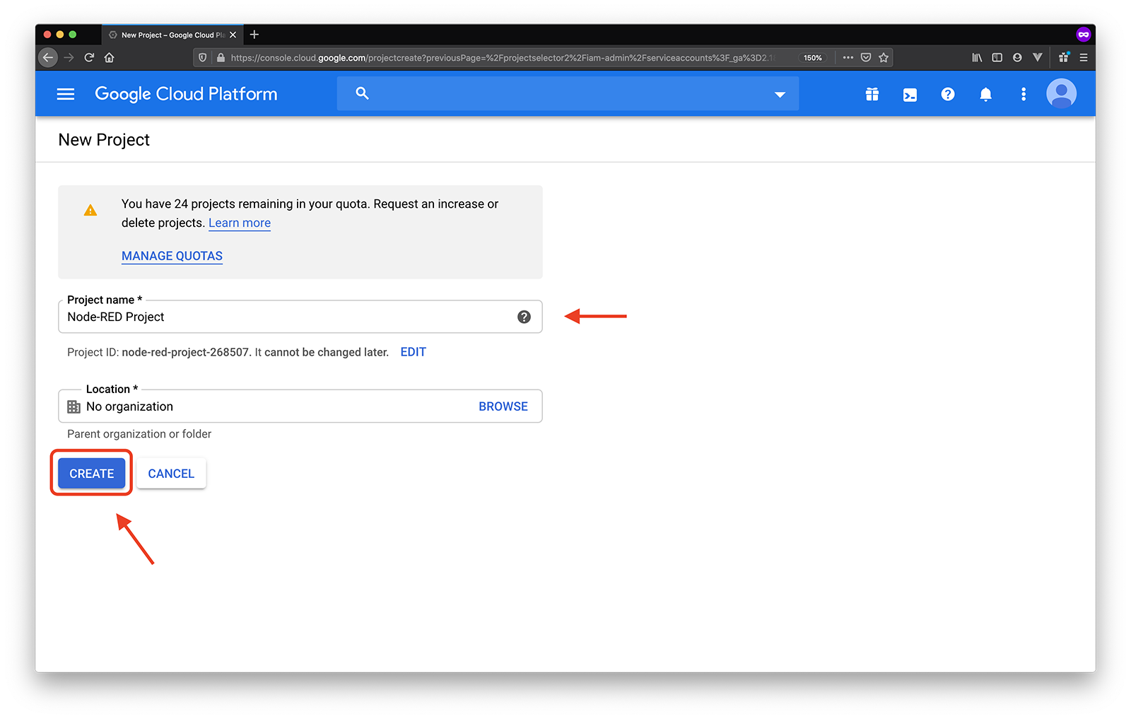 google service accounts name project