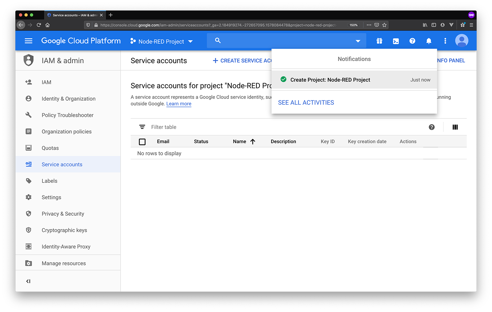 google service accounts project created