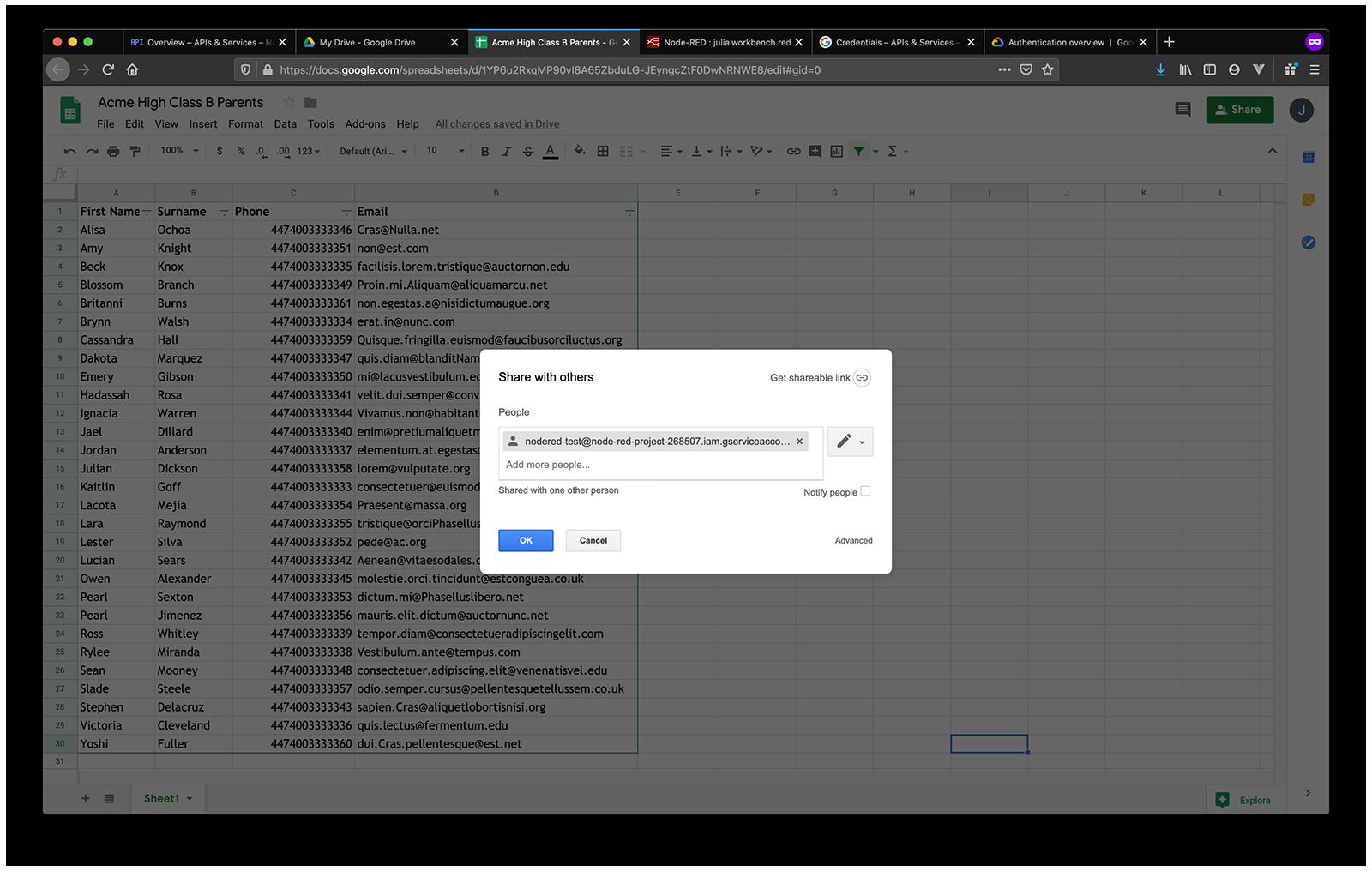 google sheets share google sheet