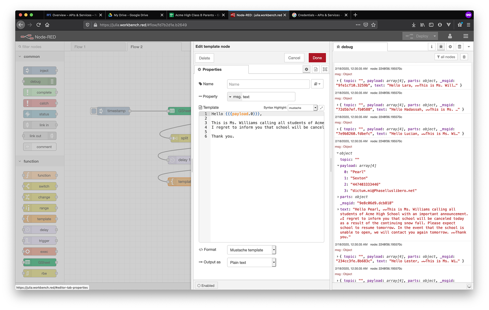 google sheets templated sms in debug