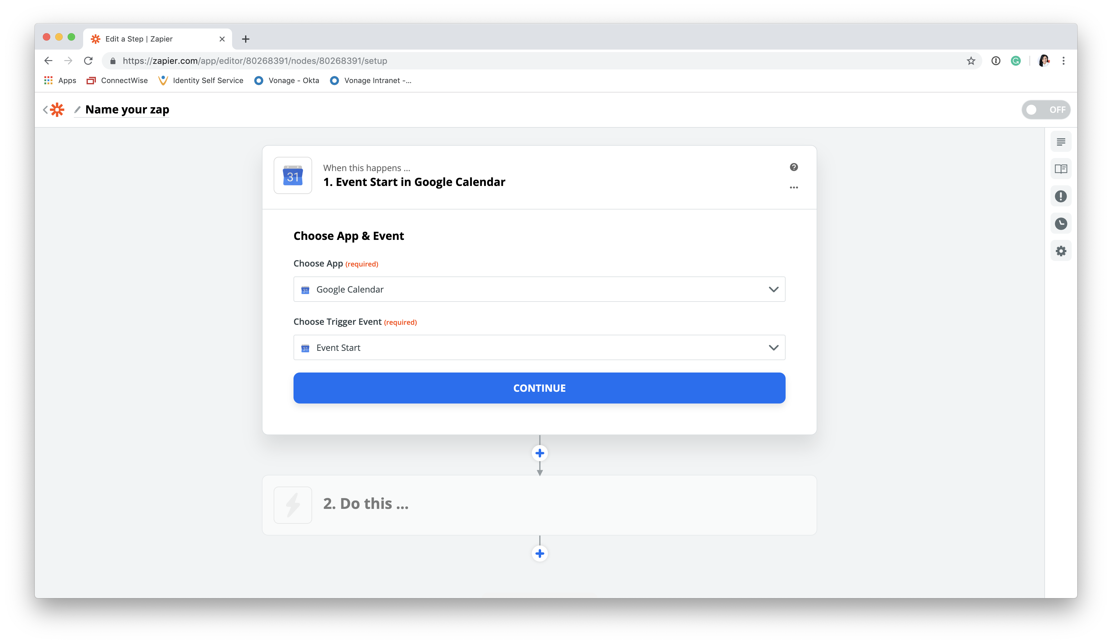 Create a Google Cal trigger