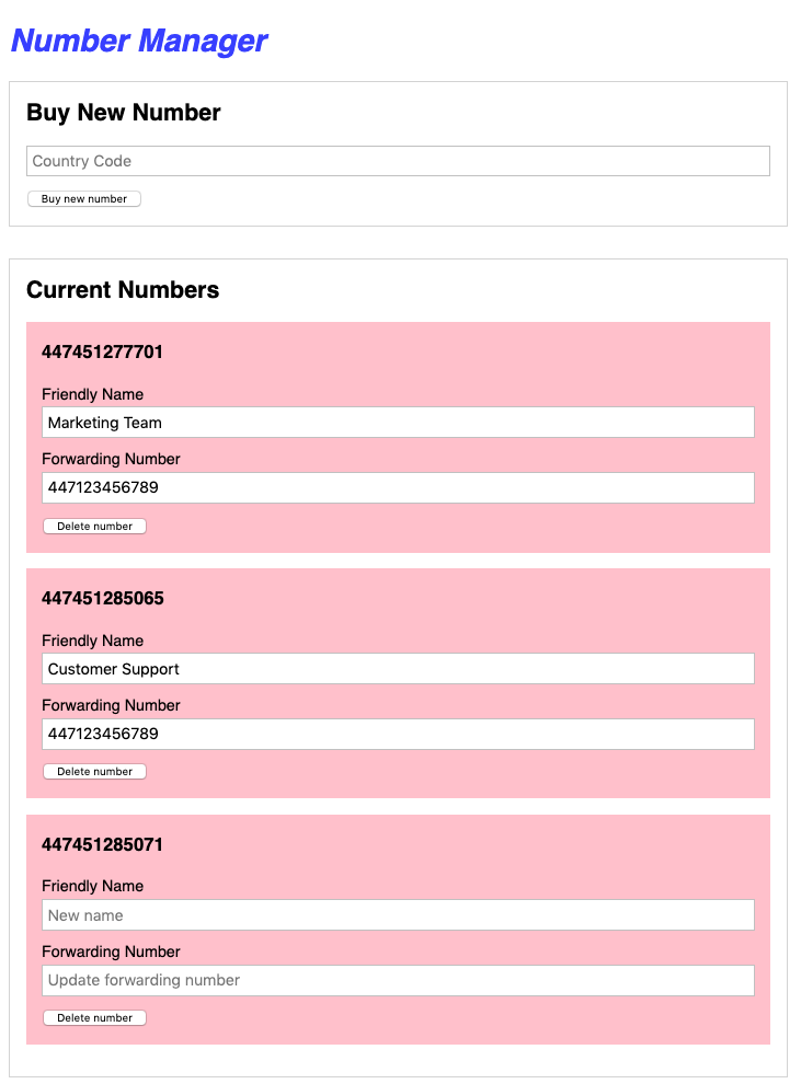 The final application screenshot, showing a pool of phone numbers and management options including update and delete