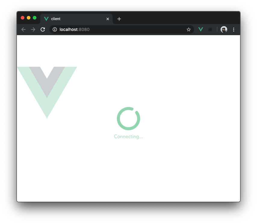 Screenshot of the Vue.js client loading screen with spinner