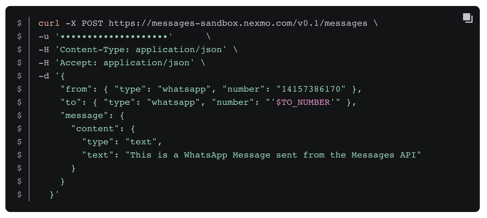 The CURL command required to send a WhatsApp message