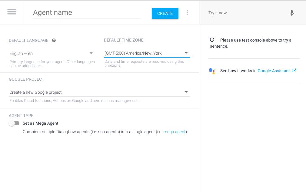 Create Blank Dialogflow Agent
