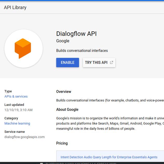 Enable Dialogflow