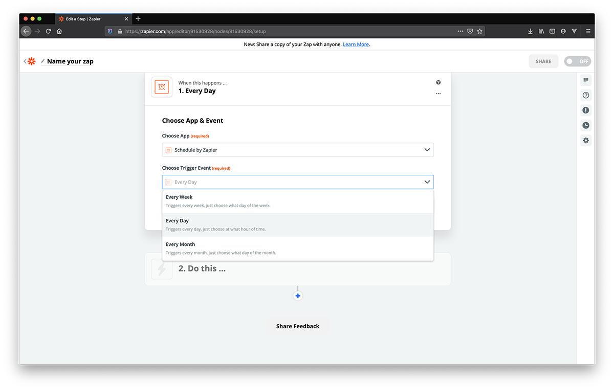 Events drop-down menu for Schedule by Zapier