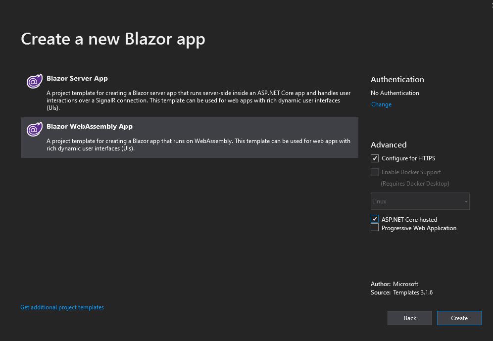 Create Blazor App