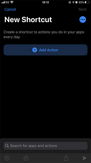 Screenshot of the add new action button