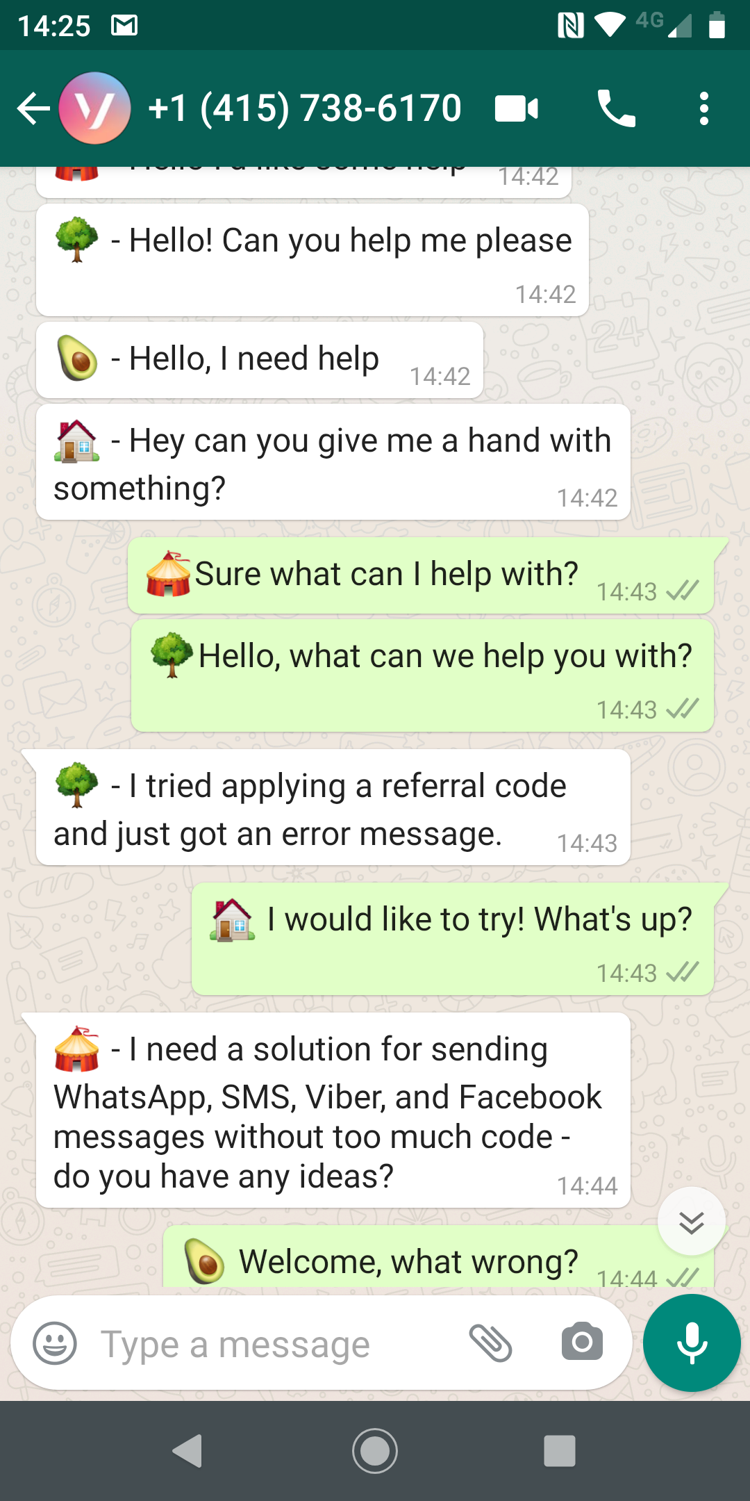 mobile phone screenshot showing chat messages of pretend customer support messages. Each user gets their own emoji prefix to assist message threading