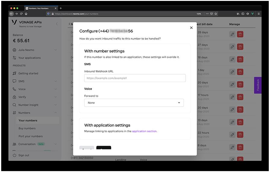 Vonage virtual number config fields in dashboard