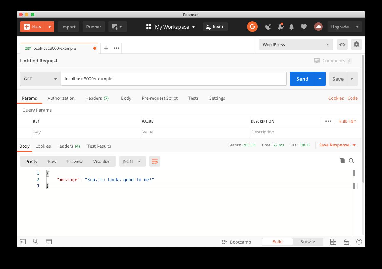 Screenshot of making a request to the Koa.js example API using Postman